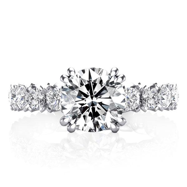 Double Prong Eternity Engagement Ring, White