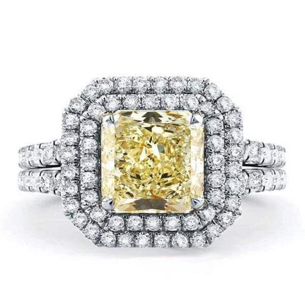 Italo Double Halo Created Topaz Engagement Ring, White