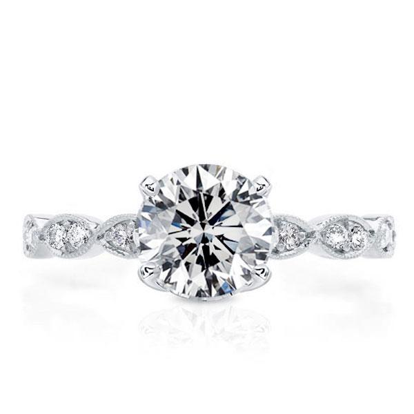 Italo Twist Shank Created White Sapphire Engagement Ring