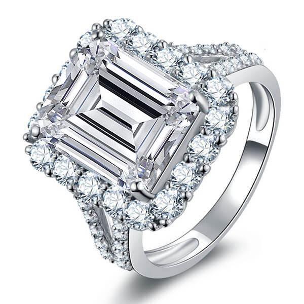 Halo Split Shank Emerald Engagement Ring, White