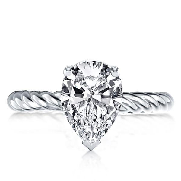 Italo Rope Shank Pear Created White Sapphire Engagement Ring