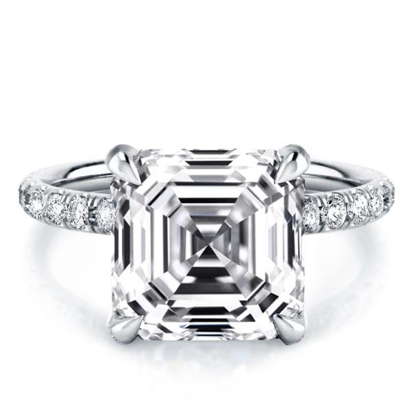 Italo Classic Asscher Created White Sapphire Engagement Ring