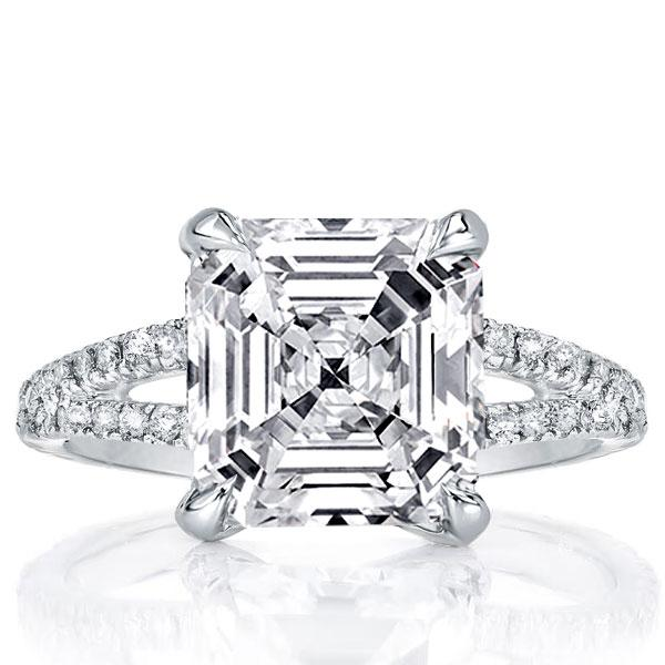 Italo Split Shank Asscher Created White Sapphire Engagement Ring