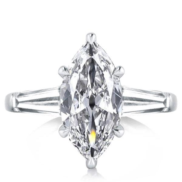 Three Stone Marquise Engagement Ring, White