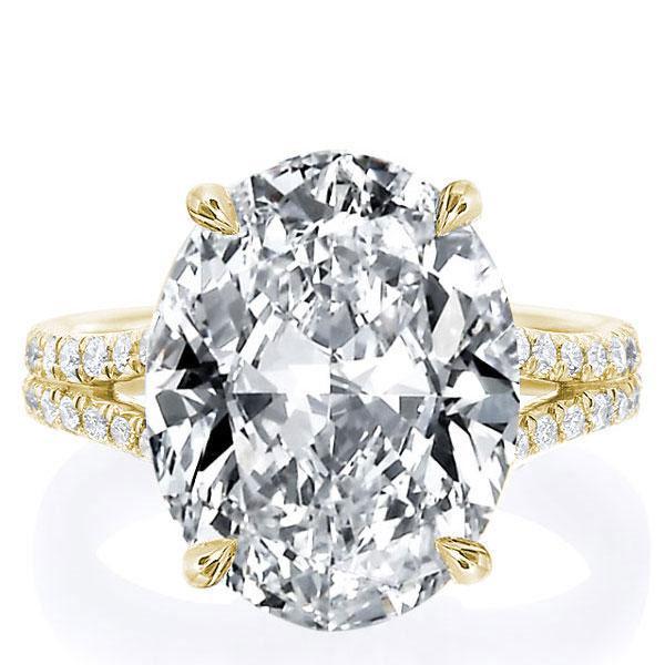 Golden Oval Split Shank Engagement Ring, White