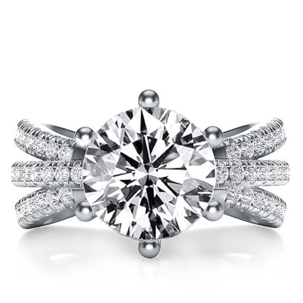 Italo Three Row Created White Sapphire Engagement Ring