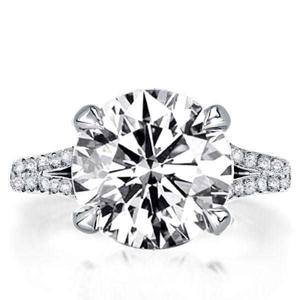 Italo Split Shank Round Created White Sapphire Engagement Ring