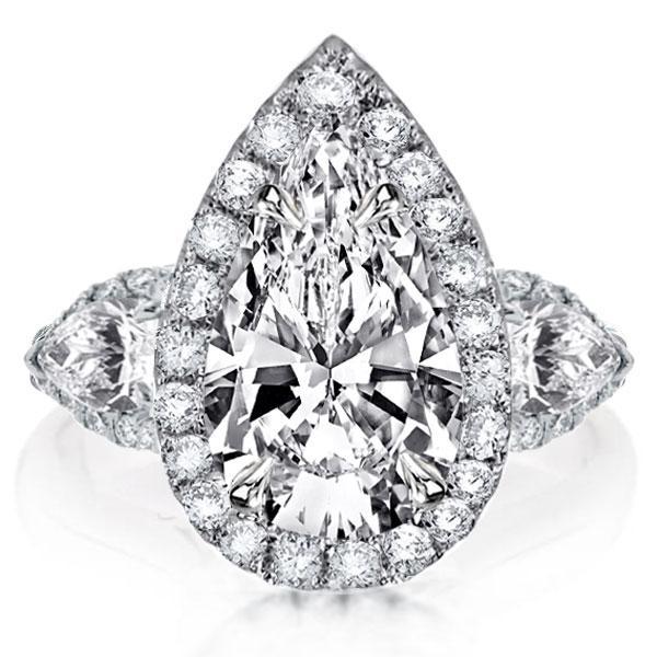 Pear Halo Three Stone Engagement Ring, White