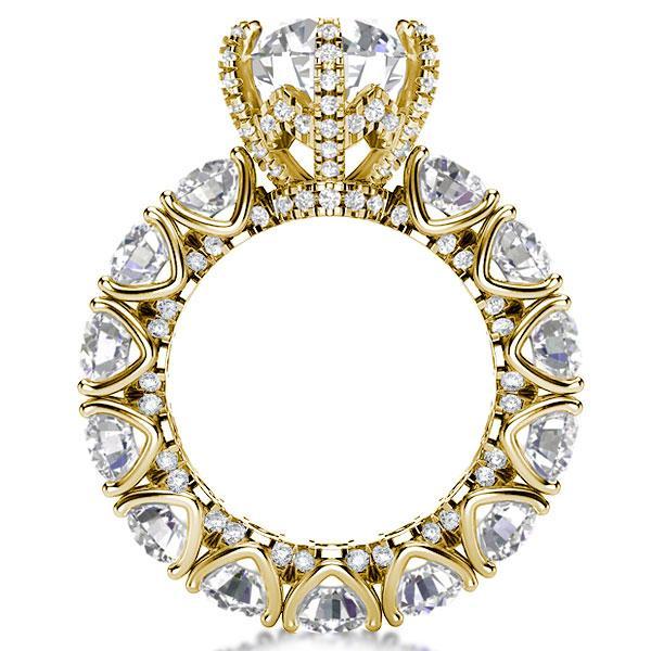 Golden Eternity Round Engagement Ring, White