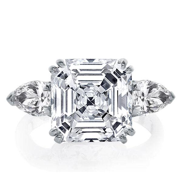 Three Stone Asscher Engagement Ring, White