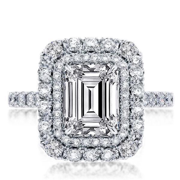 Double Halo Emerald Engagement Ring, White