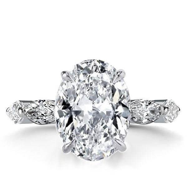 Italo Oval Eternity Created White Sapphire Engagement Ring