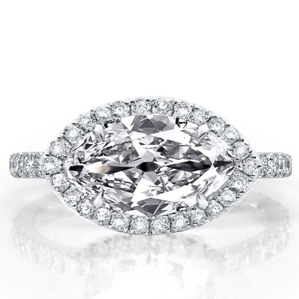 Halo East West Marquise Engagement Ring, White