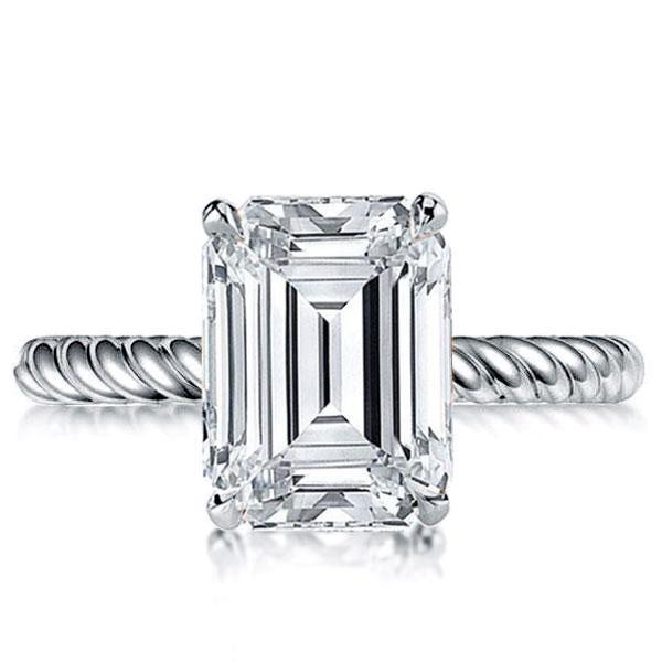 Italo Twist Rope Emerald Created White Sapphire Engagement Ring