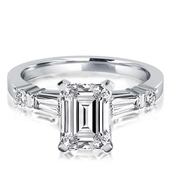 Italo Five Stone Emerald Created White Sapphire Engagement Ring