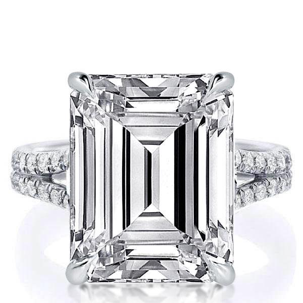 Italo Emerald Split Shank Created White Sapphire Engagement Ring