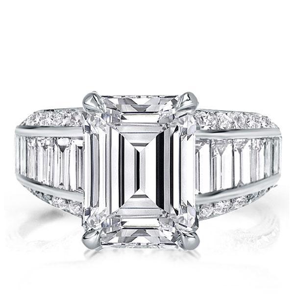 Italo Emerald Created White Sapphire Engagement Ring