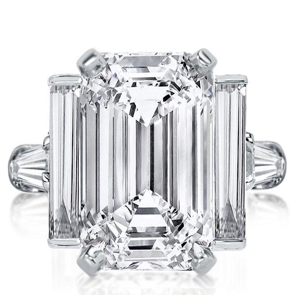 Italo Emerald Five Stone Created White Sapphire Engagement Ring