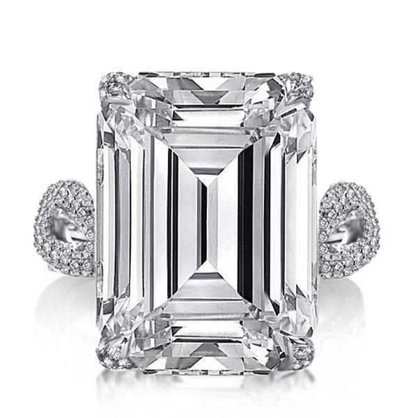 Italo Twist Shank Emerald Created White Sapphire Engagement Ring