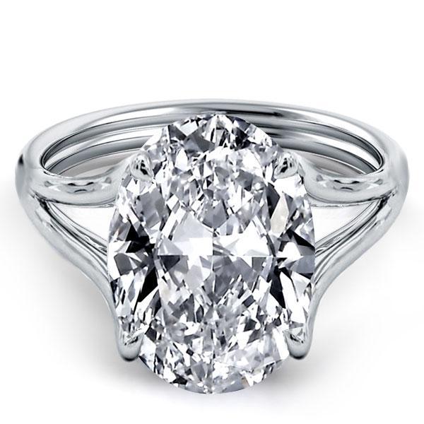 Italo Oval Split Shank Created White Sapphire Engagement Ring