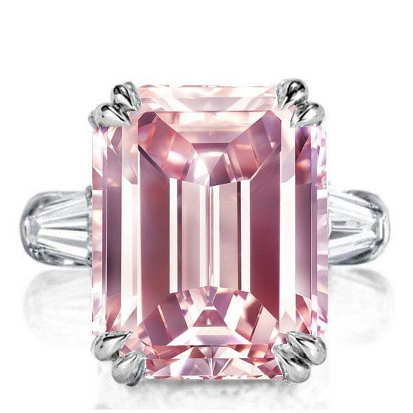 Italo Three Stone Emerald Created Pink Sapphire Engagement Ring, White