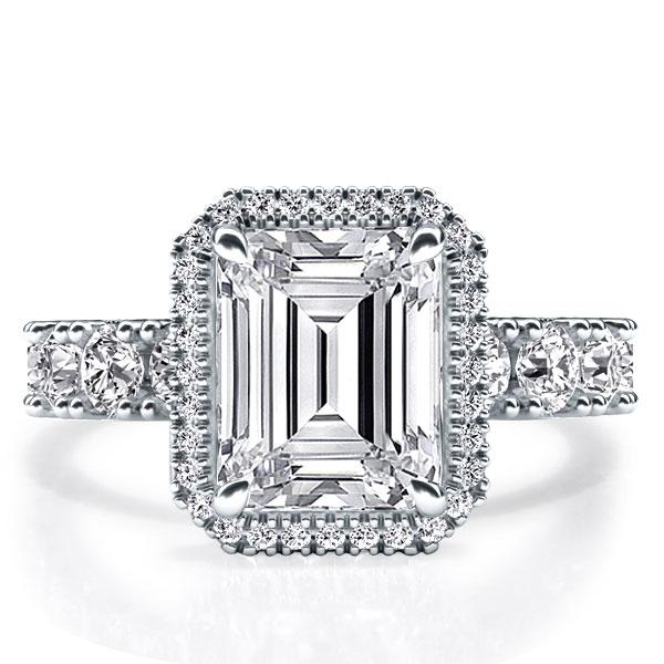 Italo Halo Emerald Created White Sapphire Engagement Ring