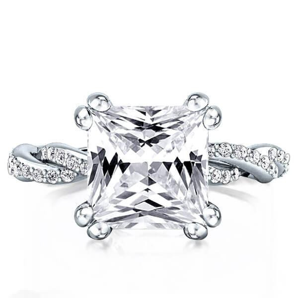 Eternity Twist Shank Double Prong Engagement Ring (2.24CT. TW.), White