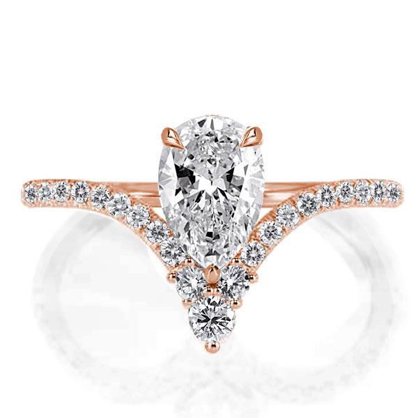 Rose Gold V-design Pear Created White Sapphire Engagement Ring