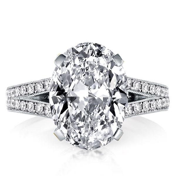 Milgrain Split Shank Oval Created White Sapphire Engagement Ring