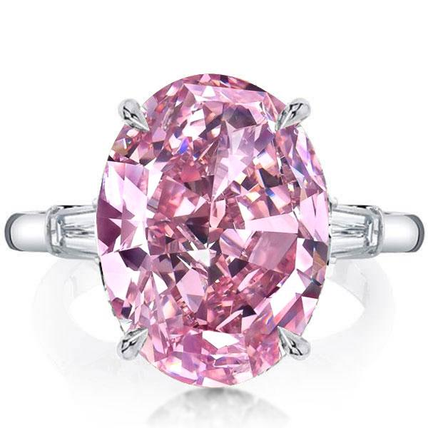 Italo Oval Three Stone Created Pink Sapphire Engagement Ring, White