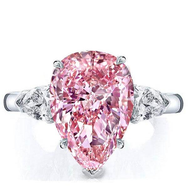 Italo Three Stone Pear Created Pink Sapphire Engagement Ring, White