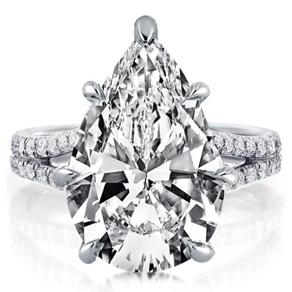 Split Pear Created White Sapphire Engagement Ring