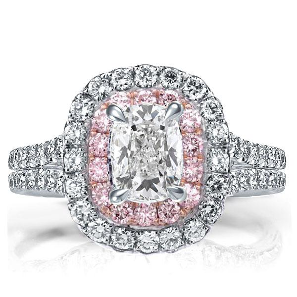 Double Halo Two Tone Cushion Engagement Ring, White