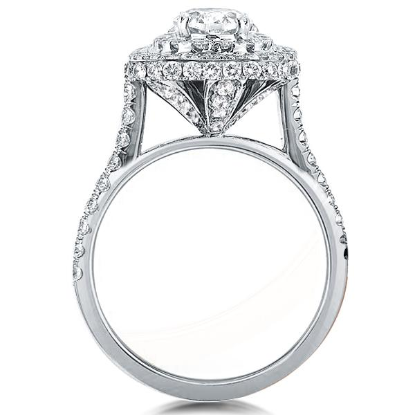 Double Halo Oval Created White Sapphire Engagement Ring