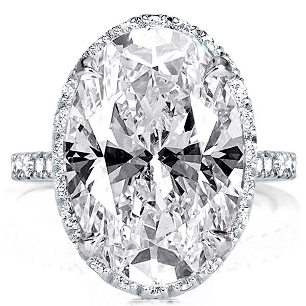 Halo Oval Created White Sapphire Engagement Ring