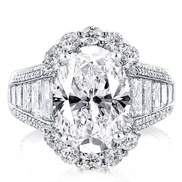 Halo Oval Engagement Ring(7.25 CT. TW.), White