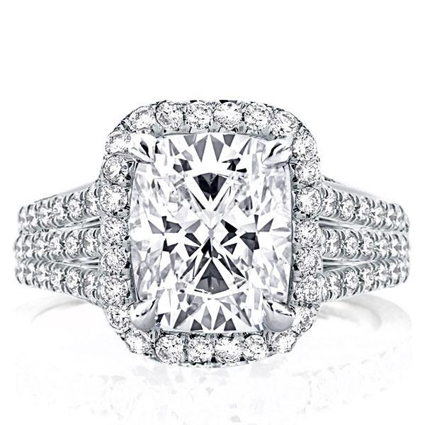 Three Row Split Shank Halo Cushion Engagement Ring(4.75 CT. TW.), White
