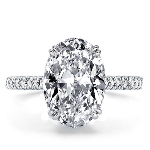 Italo Double Prong Oval Created White Sapphire Engagement Ring