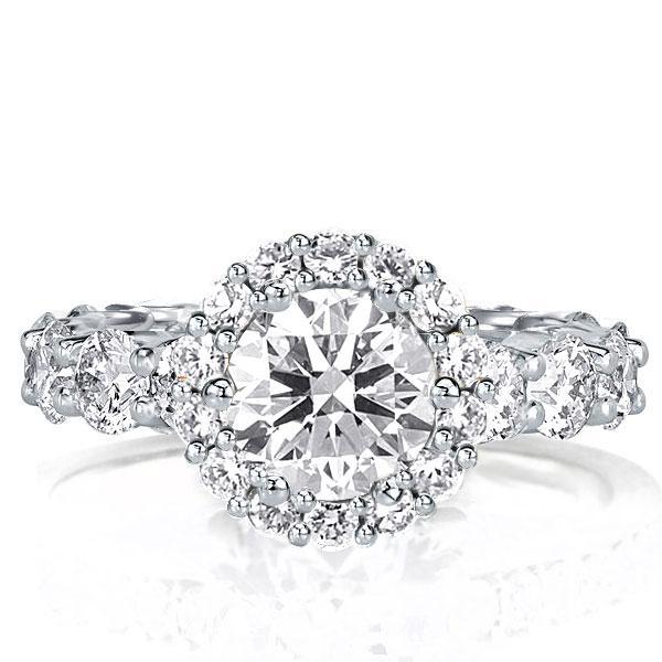 Halo Round Engagement Ring(4.5 CT. TW.), White