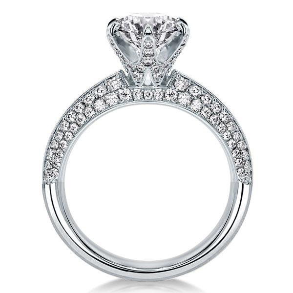 Italo Six Prong Round Created White Sapphire Engagement Ring