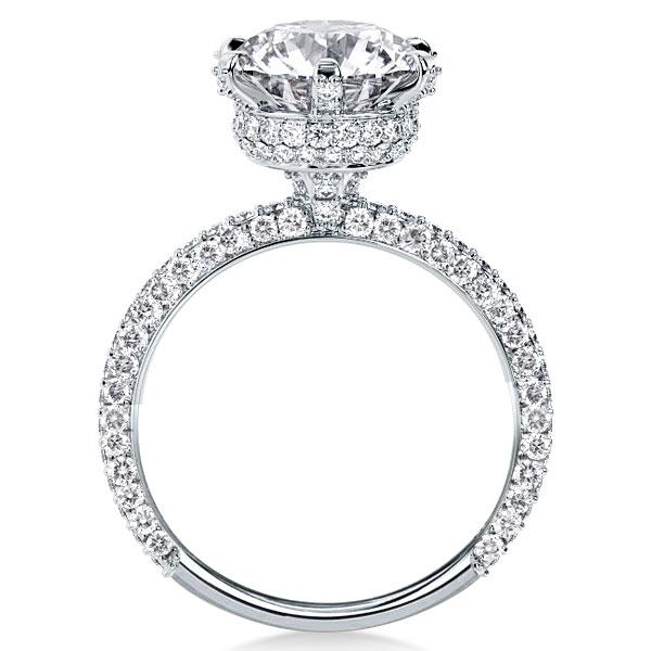 Six-prong Hidden Halo Created White Sapphire Engagement Ring