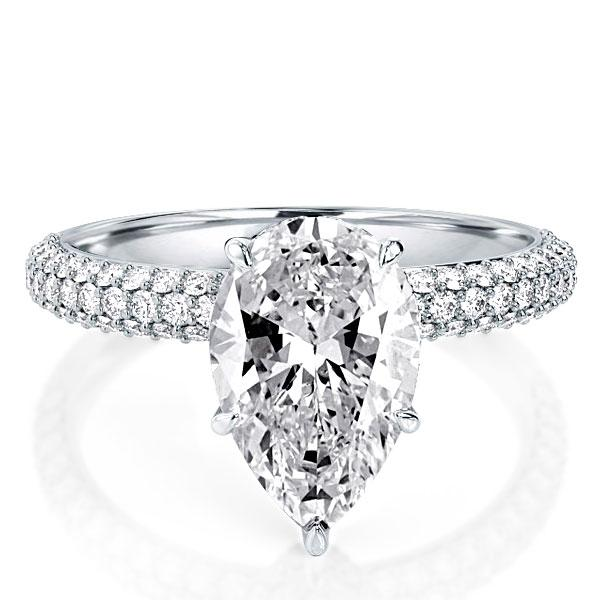 Italo Micro Pave Pear Created White Sapphire Engagement Ring