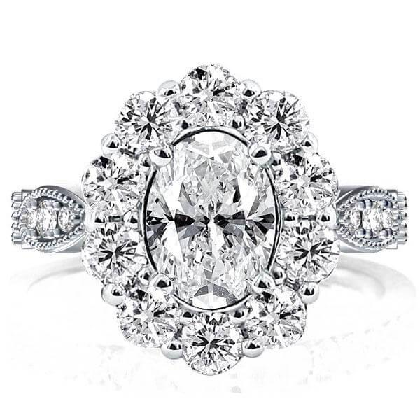 Vintage Halo Oval Created White Sapphire Engagement Ring