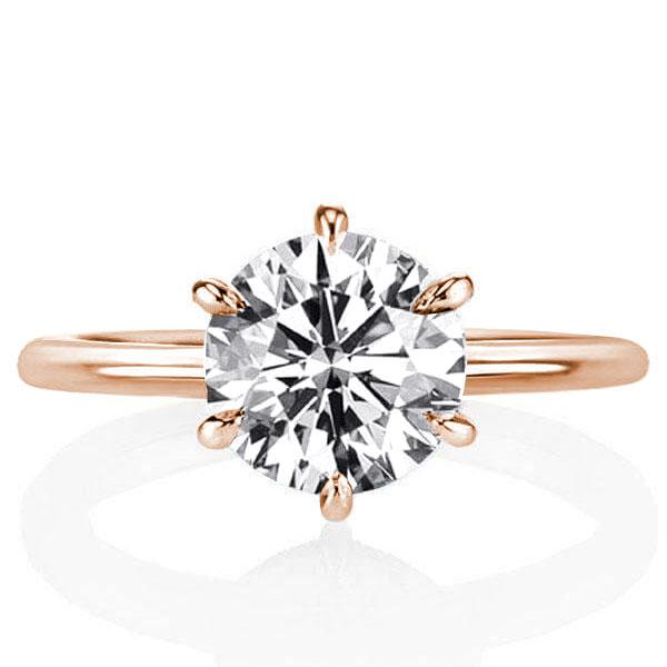 Rose Gold Hidden Halo Six-prong Engagement Ring, White