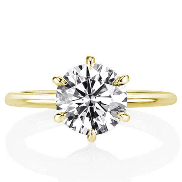 Golden Hidden Halo Six-prong Round Engagement Ring(3.25 CT. TW.), White