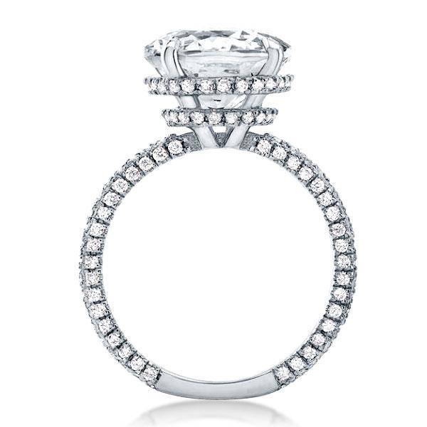 Double Hidden Halo Cushion Engagement Ring(4.15 CT. TW.), White