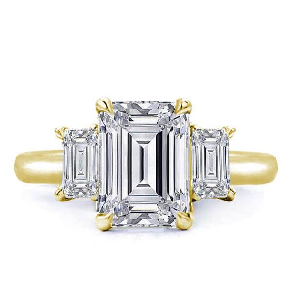 Golden Three Stone Emerald Engagement Ring(3.45 CT. TW.), White