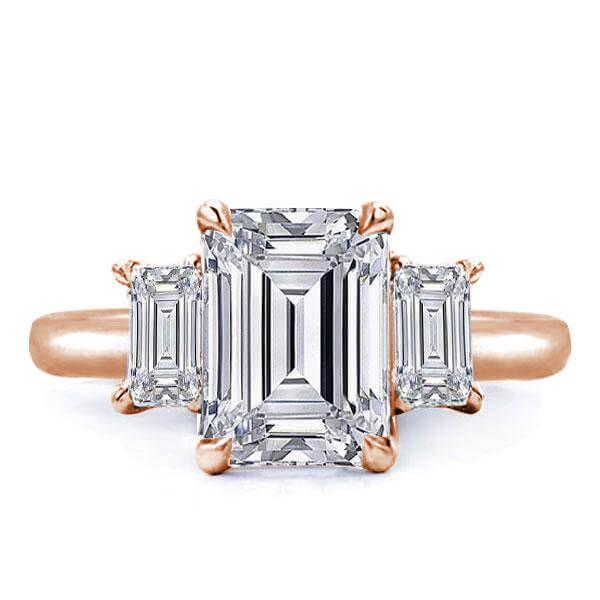 Rose Gold Three Stone Emerald Engagement Ring(3.45 CT. TW.), White