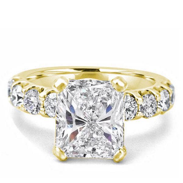 Golden Radiant Half Eternity Engagement Ring(3.75 CT. TW.), White