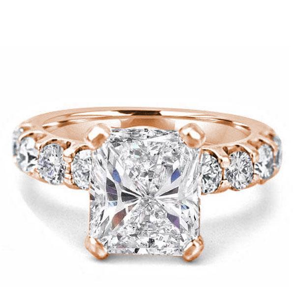 Gose Gold Radiant Half Eternity Engagement Ring(3.75 CT. TW.), White